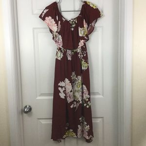 2b58e6ddadc3 Astr Dresses - ASTR Rust Red Floral Off the Shoulder Dress